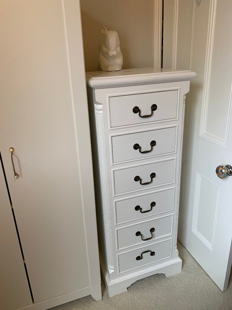 WHITE GEORGIAN-STYLE TALL BOY CHEST OF DRAWERS | in Wimbledon, London | Gumtree