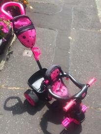 Little tikes pink child's ride along push handle trike