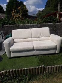 Cream Faux Suede Sofa