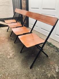 6ft long mid century 4 seat folding gymnasium bench