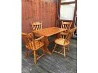 Well built farmhouse pine dining table & chairs, bargain free delivery