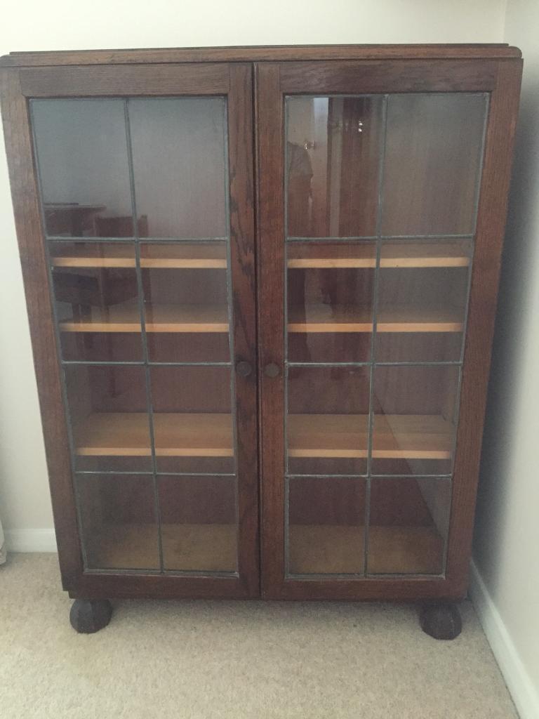 Oak Bookcase With Leaded Glass Doors In Chelmsford Essex Gumtree