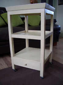 Small square trolley table,with drawer.