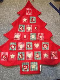 Hanging fabric advent calendar