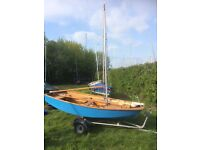 Mirror Dinghy with: trailer; road trailer; main sail; jib; cover and spinnaker