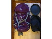 LoweAlpine Airzone Pro ND 33:40L, camping plate & small Quechua backpack