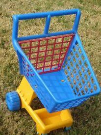 Blue plastic shopping trolley