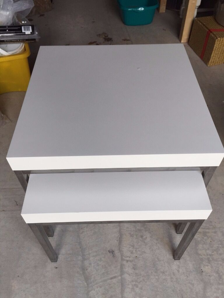 Ikea Klubbo Nest Of Small Tables White Lower In North