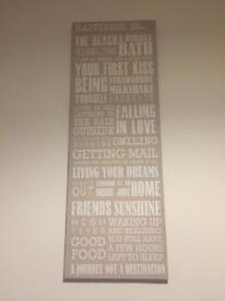 Happiness is.... quotes canvas in beige