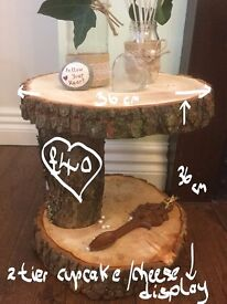 Rustic style Log 2 tier Cup cake stand