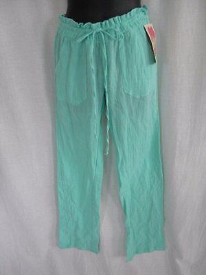 NWT Miken Swim Swimsuit Cover Up Pants Green Size XS Elastic Waist Cotton