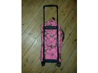 hibiscus design travel shoulder bag with wheels/pull out handle (EXPANDABLE)
