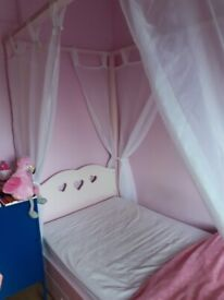 Girls Pink Princess Single Wooden Four Poster Bed