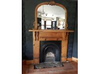 Old pine and cast iron fireplace