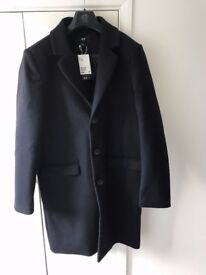 Men's H & M Coat Size 38R Wool blend Navy Blue New Unused with tags