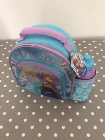 Frozen lunch bag with drinks bottle