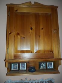 Small pine wall unit/cupboard with shelf