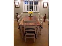 White Country Farmhouse Rustic Kitchen / Dining Table and 6 Chairs