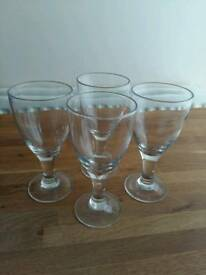 SET OF FOUR HAND BLOWN WINE GLASSES IN EXCELLENT AS NEW CONDITION