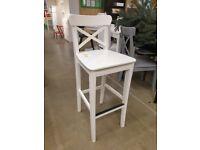 INGOLF Bar stool with backrest, white 63 cm, IKEA MILTON KEYNES #bargaincorner
