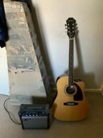 EPIPHONE AJ220SCE ELECTRO ACOUSTIC GUITAR NATURAL WITH AMPLIFIER INCLUDED