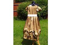 Stunning Vintage Designer Bridesmaid Big Puffy Dress Gold & White 10-11 Years