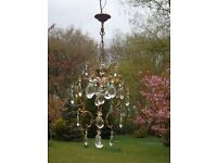 Pretty petite vintage French bronze cage chandelier (P35)