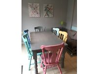 Vintage Shabby Chic style table and 6 chairs