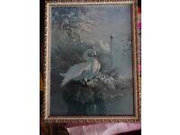 Original painting of swans in frame