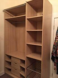Ikea 2 x tall bedroom storage units with drawers, clothes rail & cupboard space
