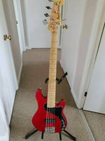 Squier by Fender Deluxe Dimension Bass V 5 String Bass Crimson Red