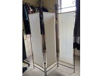 Screen Room Divider - wrought iron & canvas