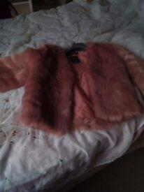 Ladies size 10/12 pink fur jacket