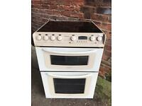 Hot point ceramic halogen electric cooker 60cm double ovens