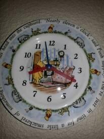Winnie the poo battery operated porcalain clock