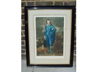 FREE DELIVERY Gainsborough's The Blue Boy Mezzotint Painting By Albert Galain Retro Vintage