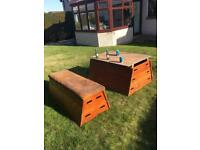 Vintage vaulting horse garden furniture table bench man cave pub bar gym shop