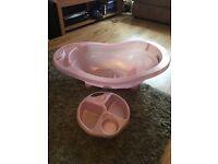 Pink baby bath & top n tail bowl