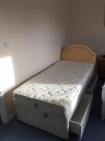 Single Divan Bed with 2 Drawers, Mattress and Headboard