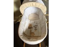 Baby rocking Moses basket, hardly used.