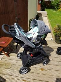 Grey & blue woodland travel system. Includes isofix base, carseat and pushchair Excellent condition