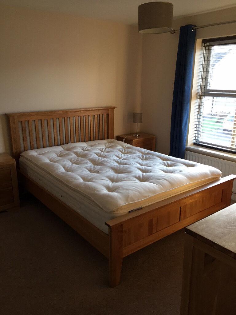 Quality Natural Solid Oak Bedroom Furniture Bed Frame Mattress