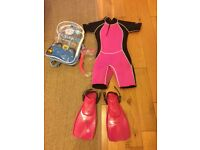 Wetsuit and diving set 7-9years