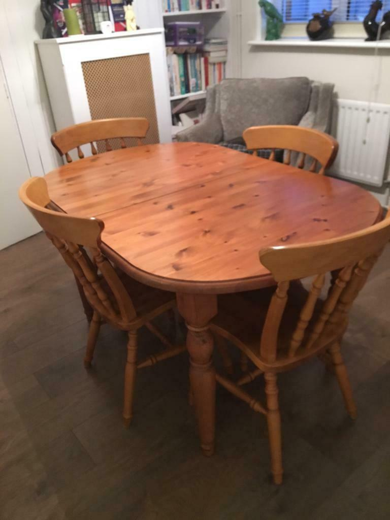 Antique Pine Oval Extending Dining Table and Four Matching ...