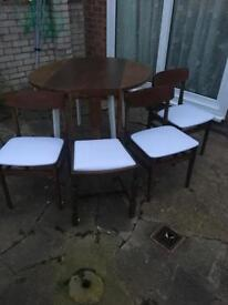 1960s Upcycled drop leaf table n 4chairs