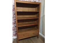 Beautiful oak contemporary book shelf with drawers, 180cm, vgc