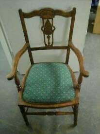 Lovely 1940's wing armed oak chair