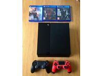 Sony Playstation 4 (PS4) Jet Black 500GB + 2 controllers + 3 games - with all original cables/box
