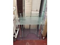 glass 3 tier desk
