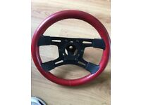 Red vintage steering wheel